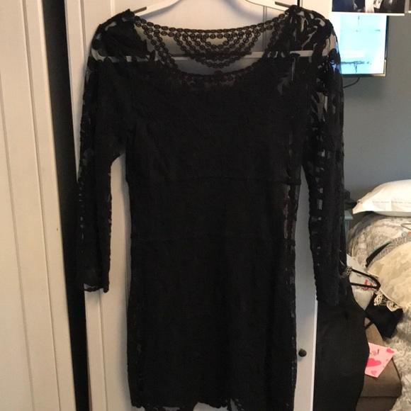 bd130dd1dd9e Express Dresses & Skirts - Express Long Sleeve Lace Overlay Mini Dress
